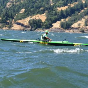 Joe paddling outrigger